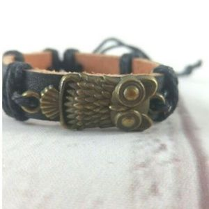 Jewelry - Unisex Adjustable Cuff W/ Owl Charm